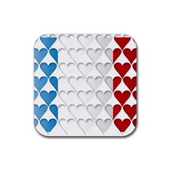 France Hearts Flag Rubber Square Coaster (4 pack)
