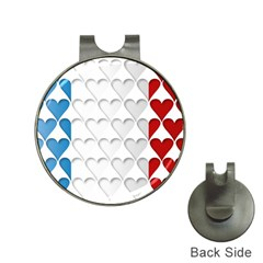 France Hearts Flag Hat Clips with Golf Markers