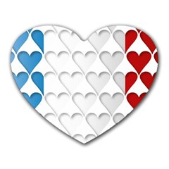 France Hearts Flag Heart Mousepads