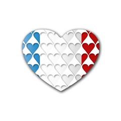 France Hearts Flag Rubber Coaster (Heart)