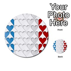France Hearts Flag Multi Purpose Cards (round)