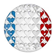 France Hearts Flag Ornament (round Filigree)