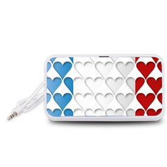 France Hearts Flag Portable Speaker (White)