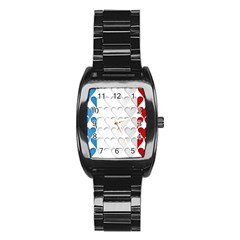 France Hearts Flag Stainless Steel Barrel Watch