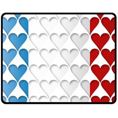 France Hearts Flag Double Sided Fleece Blanket (Medium)