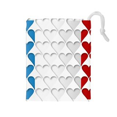 France Hearts Flag Drawstring Pouches (Large)