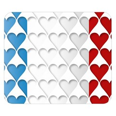 France Hearts Flag Double Sided Flano Blanket (Small)