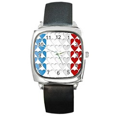 France Hearts Flag Square Metal Watches