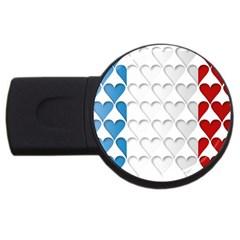 France Hearts Flag USB Flash Drive Round (4 GB)