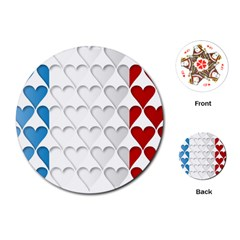 France Hearts Flag Playing Cards (Round)