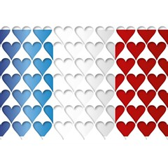 France Hearts Flag Birthday Cake 3D Greeting Card (7x5)