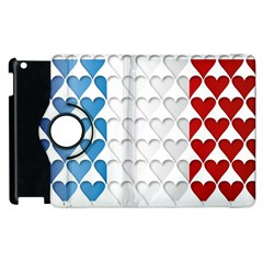 France Hearts Flag Apple iPad 3/4 Flip 360 Case