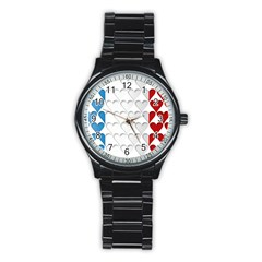 France Hearts Flag Stainless Steel Round Watches