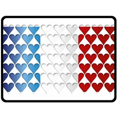 France Hearts Flag Double Sided Fleece Blanket (Large)