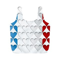 France Hearts Flag Full Print Recycle Bags (M)