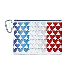 France Hearts Flag Canvas Cosmetic Bag (M)