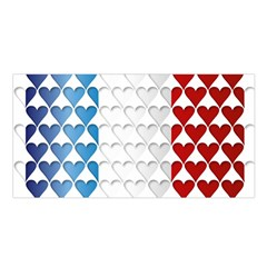 France Hearts Flag Satin Shawl
