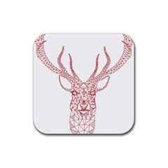 Modern red geometric christmas deer illustration Rubber Square Coaster (4 pack)