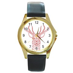 Modern red geometric christmas deer illustration Round Gold Metal Watches