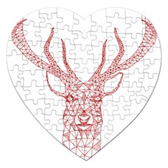 Modern red geometric christmas deer illustration Jigsaw Puzzle (Heart)