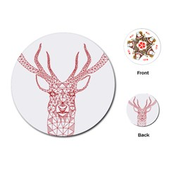 Modern red geometric christmas deer illustration Playing Cards (Round)
