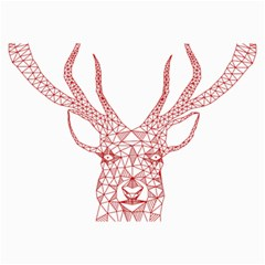 Modern Red Geometric Christmas Deer Illustration Collage 12  X 18