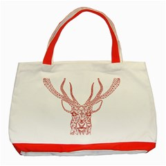 Modern red geometric christmas deer illustration Classic Tote Bag (Red)