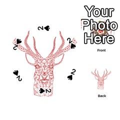 Modern Red Geometric Christmas Deer Illustration Playing Cards 54 (round)