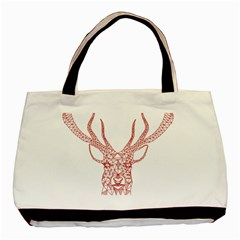 Modern red geometric christmas deer illustration Basic Tote Bag (Two Sides)