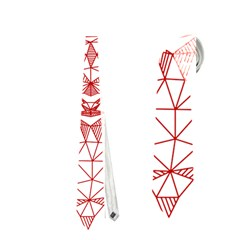 Modern Red Geometric Christmas Deer Illustration Neckties (one Side)