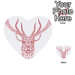 Modern Red Geometric Christmas Deer Illustration Multi Purpose Cards (heart)