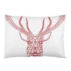 Modern Red Geometric Christmas Deer Illustration Pillow Cases