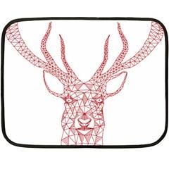 Modern red geometric christmas deer illustration Fleece Blanket (Mini)