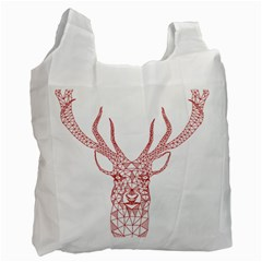 Modern red geometric christmas deer illustration Recycle Bag (One Side)