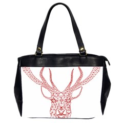 Modern red geometric christmas deer illustration Office Handbags (2 Sides)