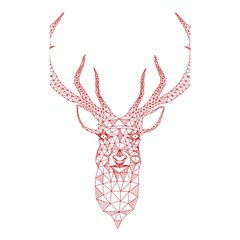 Modern Red Geometric Christmas Deer Illustration Shower Curtain 48  X 72  (small)