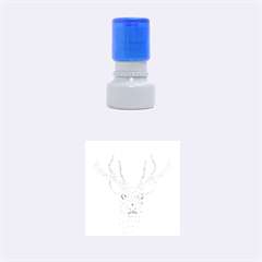 Modern red geometric christmas deer illustration Rubber Round Stamps (Small)