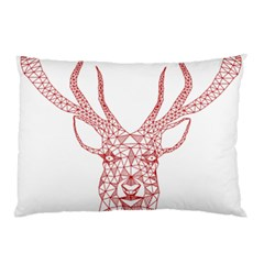 Modern red geometric christmas deer illustration Pillow Cases (Two Sides)
