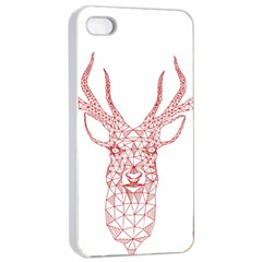 Modern red geometric christmas deer illustration Apple iPhone 4/4s Seamless Case (White)