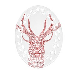 Modern Red Geometric Christmas Deer Illustration Oval Filigree Ornament (2 Side)