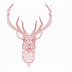 Modern Red Geometric Christmas Deer Illustration Large Garden Flag (two Sides)