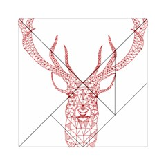 Modern red geometric christmas deer illustration Acrylic Tangram Puzzle (6  x 6 )