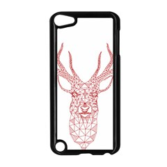 Modern red geometric christmas deer illustration Apple iPod Touch 5 Case (Black)