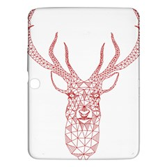 Modern red geometric christmas deer illustration Samsung Galaxy Tab 3 (10.1 ) P5200 Hardshell Case
