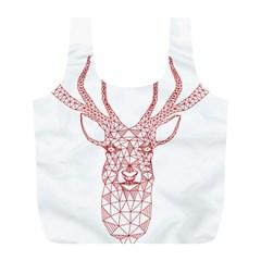 Modern red geometric christmas deer illustration Full Print Recycle Bags (L)