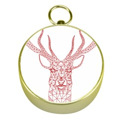Modern Red Geometric Christmas Deer Illustration Gold Compasses