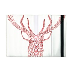 Modern red geometric christmas deer illustration iPad Mini 2 Flip Cases