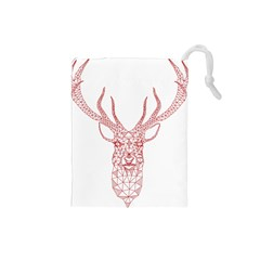 Modern Red Geometric Christmas Deer Illustration Drawstring Pouches (small)