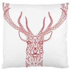 Modern red geometric christmas deer illustration Large Flano Cushion Cases (One Side)