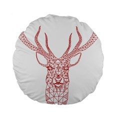 Modern red geometric christmas deer illustration Standard 15  Premium Flano Round Cushions